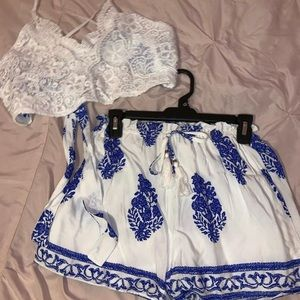 White and Blue Two-Piece Set